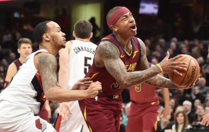 Cleveland Cavaliers guard Isaiah Thomas drives to the basket against  Portland Trail Blazers guard Shabazz Napier.  b2ade8655