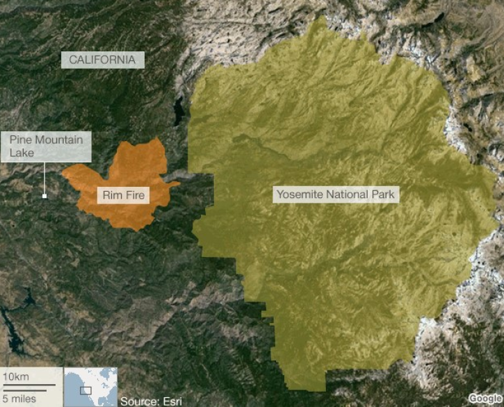 Fire Map Yosemite.Yosemite Fire 2013 Map Update Rim Wildfire Now Inside National