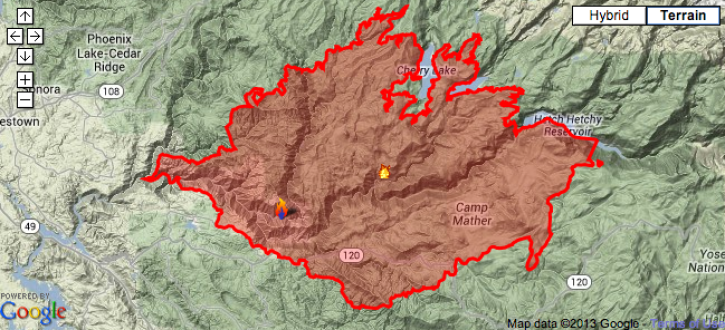 Fire Map Yosemite.Yosemite Fire 2013 Map Update Rim Wildfire 30 Percent Contained