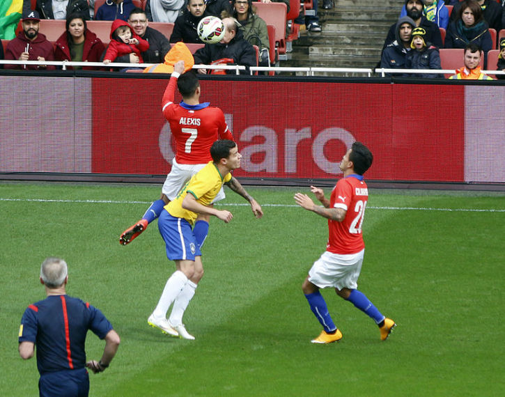 Philippe Coutinho Alexis Sánchez Charles Aránguiz Brazil Vs Chile International Friendly 29th March 2017 Emirates Stadium London Wikimedia Commons