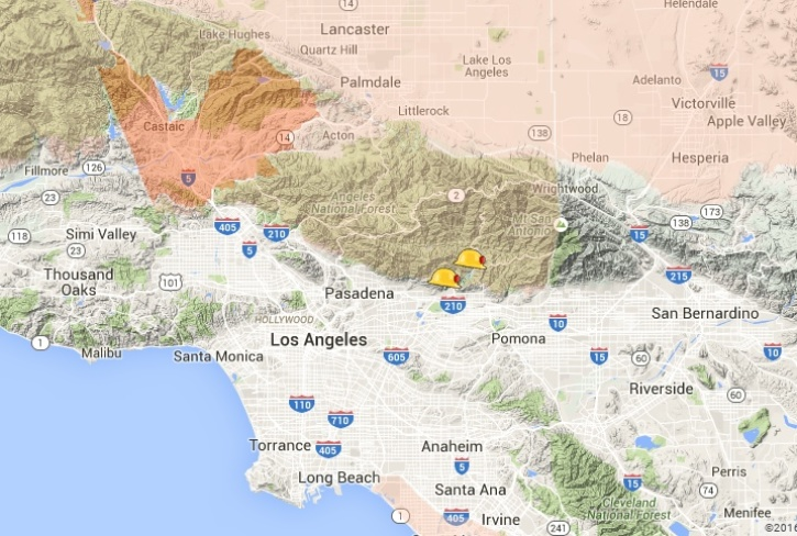 Santa Clarita Brush Fire Map.Santa Clarita Fire Map Sage Fire Burns 800 Acres Evacuations