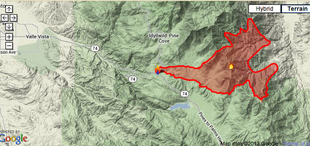 California Fires 2013 MAP: Idyllwild Wildfire Spreads to 23,000