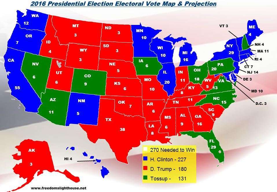 2016 Electoral College Map Projections For The Presidential